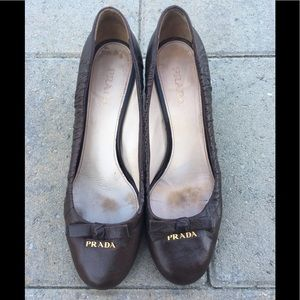 Prada Brown Leather Heels w/ Logo